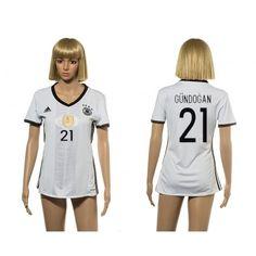 Tyskland Fotbollskläder Kvinnor 2016 #Gundogan 21 Hemmatröja Kortärmad,259,28KR,shirtshopservice@gmail.com