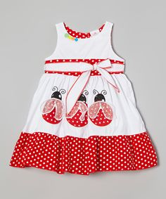 Look what I found on #zulily! the Silly Sissy White Polka Dot Ladybug Sash Dress - Infant Toddler & Girls by the Silly Sissy #zulilyfinds. $21.99