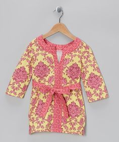 Take a look at this Pink & Yellow Brocade Tunic - Toddler & Girls by Nikkiloo on #zulily today!