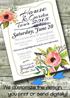 House & Garden Tour Flyer  EVENT POSTER  by DitDitDigital on Etsy Invitation Flyer, Digital Invitations, Invite, Flower Graphic Design, Event Posters, Festival Flyer, Event Flyers, I Sent You, Flower Show