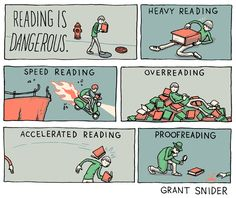 """Reading Is Dangerous  --  Illustration for the essay """"Clunkers"""" by James McWilliams in the Sunday NY Times Book Review. Thanks to ADs Rex Bonomelli and Nicholas Blechman!"""