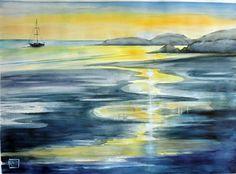 -maree in Scozia- acquerello di Lorenza Pasquali