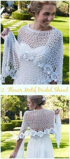 Spring Bloom Bridal Shawl Free Crochet Pattern-Crochet Bridal Shawl Free Patterns