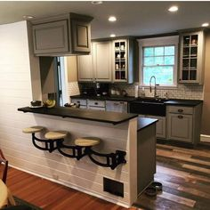 Kitchen Makeover Wall Mounted Swing out Seat / Suspended Cast Iron Swing Arm Home Decor Kitchen, Diy Kitchen, Kitchen Interior, Home Kitchens, Half Wall Kitchen, Kitchen Island Attached To Wall, Awesome Kitchen, Mens Kitchen, Kitchen Bar Design
