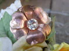VTG ANTIQUE? Rose Gold Gilt Brass Rhinestone Flower Fur Coat Clip RETRO JEWELRY #Unbranded #FlowerVTGANTIQUERetroJewelry
