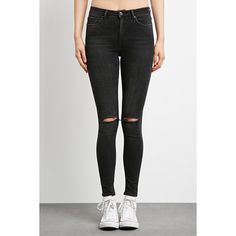 Forever 21 Women's  Sculpted High-Rise Skinny Jeans ($30) ❤ liked on Polyvore featuring jeans, skinny fit jeans, high waisted skinny jeans, forever 21, highwaist jeans and forever 21 jeans