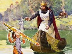 King Arthur, reaching for Excalibur which was given to him by the Lady of the Lake.