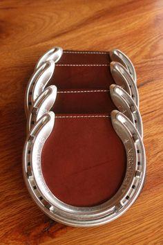 DIY horseshoe coasters made with horseshoes, shoeing nails