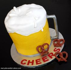 Beer mug theme cake. From Mary Alexander Cakes in Dallas Texas www.maryalexandercakes.com