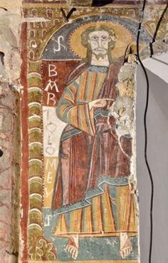 Detalle de las pinturas aparecidas en el interior de la iglesia de Ourjout de Les Bordes-sur-Lez http://ccaa.elpais.com/ccaa/2012/10/14/catalunya/1350243688_314824.html