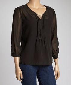 0604c663c7 Look what I found on  zulily! Black Sheer Rhinestone Dolman Top - Plus