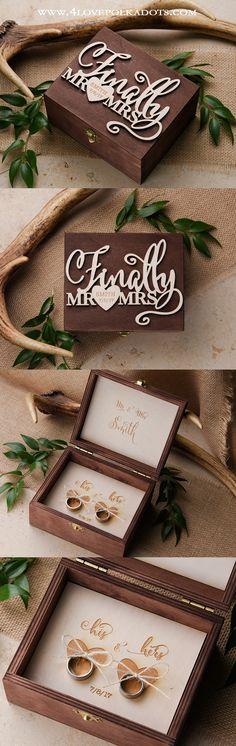 Wooden Ring Box Finally Mr & Mrs #weddingideas