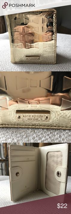 Kate spade credit card holder/wallet Cute shiny gold credit card/coin/dollars case kate spade Accessories Key & Card Holders