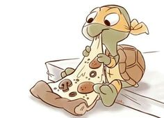 Turtle eating pizza