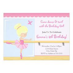 239 best ballerina birthday party invitations images on pinterest in ballerina birthday invitation blonde 5x7 card filmwisefo