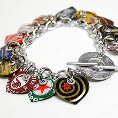 Recycled Jewelry Bottle Cap Heart Charm Bracelet by wearwolf, $37.50