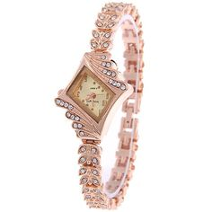 Vintage rhinestone leaves bracelet watch, watch available in golden or white color, Easter gift for female clergy or minister, Mix and match with Easter outfit Or Rose, Rose Gold, Lady, Retro Watches, Gold Face, Bling, Stylish Watches, Diamond Design, Ankle Bracelets