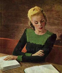 1940s  frilled and yoked jumper c.1942 WW2  by SubversiveFemme, $2.00