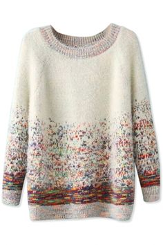Cute Graphic Shaggy Knit Sweater