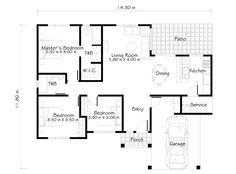 images about House plans on Pinterest   Two story houses    One Story House Plans like Small House Designs Series  offers simplicity and economy  The house plan features porch  entry  rear patio and service area