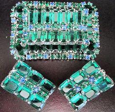 Amazing Blue & Green Rhinestone Baguette Vintage Pin Earring Set