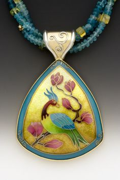 Pendant<br>Enamel, 18k, 22k, and 24k gold, sterling and fine silver, gold vermeil, apatite beads<br> One-of-a-kind
