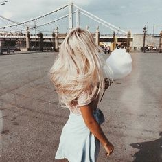 autumn, blonde, and cotton candy image