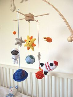 Outer Space Mobile Solar System Baby Mobile Space Nursery Mobile solar system in space Baby Mobile S This is a cute space baby mobile made from a crochet: - Astronaut - Two . Crochet Baby Mobiles, Crochet Mobile, Crochet Baby Toys, Cute Crochet, Crochet For Kids, Nursery Patterns, Baby Patterns, Crochet Patterns, Crochet Ideas
