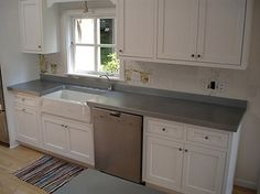 White Kitchen With Zinc Countertop And Farm Sink Countertops