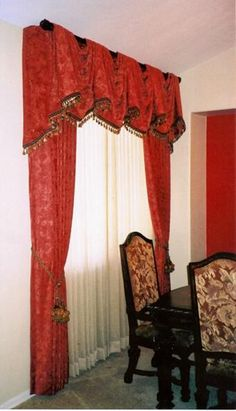 Chenille fabric, pick-up valanceRed is great for dining areas.