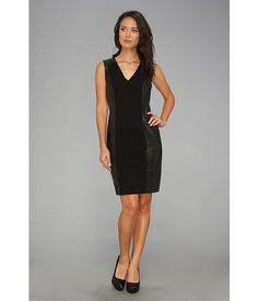 Calvin Klein Lux And Leather Sheath Dress