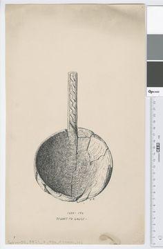 Osebergfunn fra mappe 'Oseberg, øser og kar': øse 1904 - 147 Tusjtegning av Sofie Krafft. Mål: B: 21,7 cm, H: 37,5 cm.