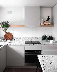 Kitchen Interior Design Terrazzo — a fixture of the that is making a major comeback. - Granite is great and all, but have you heard of basalt? Kitchen Remodel Countertops, Scandinavian Kitchen, Scandinavian Kitchen Design, Kitchen Remodel, Kitchen Decor, New Kitchen, Home Kitchens, Kitchen Renovation, Kitchen Design