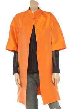 Luisa Beccaria Shantung Silk Coat in Orange   Lyst