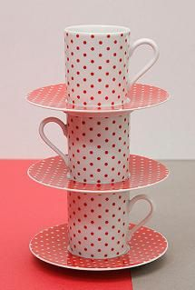 Polka dot mugs, 50s era