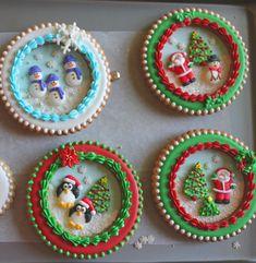 decorated sugar cookies, snow globes, snow globe cookies