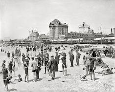 "ATLANTIC CITY, New Jersey, circa 1908. ""Hotel Traymore, bathers on the shore."""