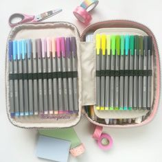 A quick look; my Kipling 100 pens pencil case, I keep my fave colors of Staedtler Triplus here. (Washi tape, stationery' post it, pens, stationery addict ) Instagram; Deniz @stationerysatellite