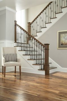 48 Ultimate Farmhouse Staircase Decor Ideas And Design House Staircase, Iron Staircase, Staircase Remodel, Staircase Makeover, Staircase Railings, Banisters, Staircase Ideas, Interior Stair Railing, Wrought Iron Stair Railing