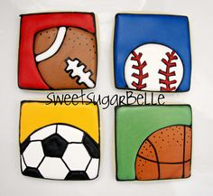LOVE these square sports cookies by /sweetsugarbelle/! Royal Icing Cookies Recipe, Edible Cookies, Iced Cookies, Fun Cookies, Cupcake Cookies, Decorated Cookies, Frosted Cookies, Baby Cookies, Basketball Cookies