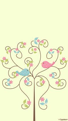 Fofura de desenho. Passarinhos românticos #Wallpaper #Background #Patterns #Print #PapelDeParede #Desenhos #Ilustrações #iphone #celular
