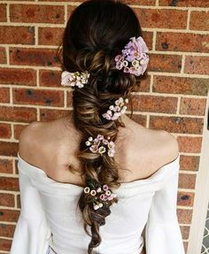 Bohemian Braided Wedding Hairstyle with Flowers