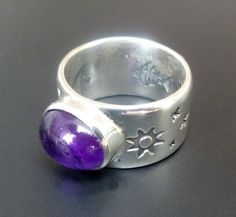 HandmadeSterling Silver Amethyst Ring  Stamped by fishsilver, $95.00