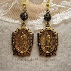 Our LADY of GUADALUPE EARRINGS. Virgen de by FrenchRabbitCottage1