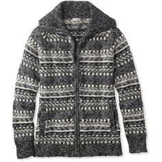 L.L.Bean Cotton Ragg Sweater, Cardigan Fair Isle ($70) ❤ liked on Polyvore featuring tops, cardigans, collar cardigan, fitted tops, cotton cardigan, cardigan top and fairisle cardigan