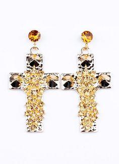 Champagne Round Brilliant Crucifix Pierced Fashion Earrings for Women - Milanoo.com