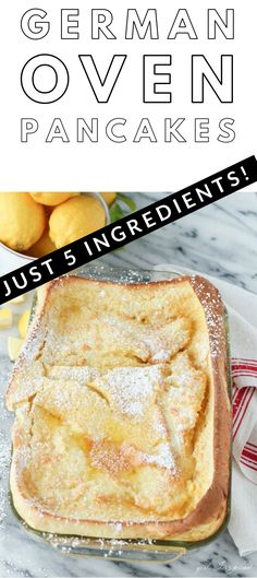 5 simple ingredients, 5 minute prep time - these oven pancakes (dutch babies) are SO delicious, our family eats them almost every weekend.  Such a treat and so easy to make!   #dutchbabies #ovenpancakes #germanpancakes #easybreakfast