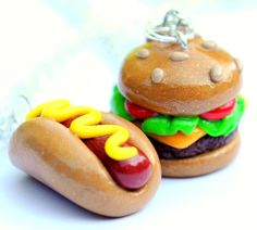 Handmade Hot Dog and Cheeseburger Best Friend Necklaces  (Also Great for Couples!) from AlwaysFits.com