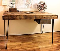 I could do this myself and just might:) Reclaimed Wood Desk  Made to Order by IronAndWoodside on Etsy, $825.00