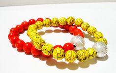 Gemstone Elastic Bracelet  Orange Yellow Modern by BijiJewelry